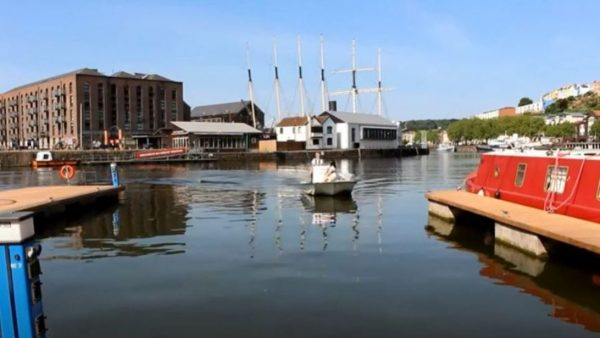 boat floating along Bristol habour