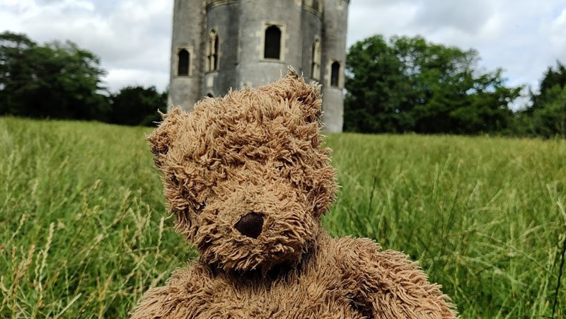 brown teddy bear in grass with Blaise Castle folly in background